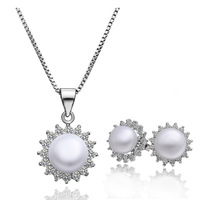 ZS024P Wholesale fine 100% Real S925 pure Sterling silver necklace earrings jewelry set