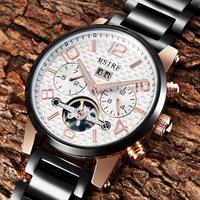 Top quality famous luxury brand sapphire auto date energy automatic mechanical self wind Tourbillon watch skeleton wristwatch