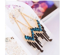 South Korea earrings Retro elegant crystal tassel earrings 2014 new earrings