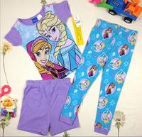 Free Shipping FROZEN Elsa and anna princess girl short sleeves t shirt  top+ long pants +shorts 3 piece suits
