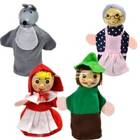 New 4PCS Little Red Riding Free Shipping Baby Plush Toy,Finger Puppets,Talking Props