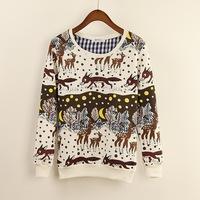 2014 new women spring auturn Sweatshirt Women Hoody long Sleeve printed Pullovers Knitted Hoodies casual Sweatshirts