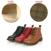 New Women Round Toe Martin Boots(Fur inside),Ladies Winter Warm Retro Cross Strapy Flat Bottom Short Boots Shoes X253