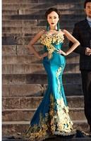 ladies womens taffeta blue floral applique mermaid slim evening dress  long mermaid dress