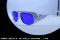 laser safety glasses for 190-400nm and 570-610nm O.D 4~5, White frame