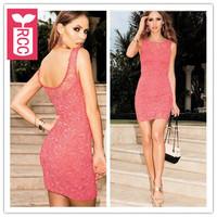 Drop ship!new 2015 brand sexy Lace slim hip bodycon backless sheath dress sleeveless tank tight dress