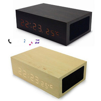 Wooden Bluetooth-speaker Alarm Clock Stereo Speaker LED time + Temperature Display + NFC + USB charger mini  bluetooth speaker
