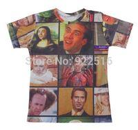 Hot sale New fashion 2014 Mens/Womens Short Sleeve Nicolas Cage Rage Faces 3D Fun T-shirt Women Men Tops T-shirt S M L XL XXL