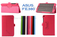 100 pcs/lot for ASUS Fonepad 8 FE380CG PU Leather Flip Reversal Stand Case Cover with Multi-Angle Stand