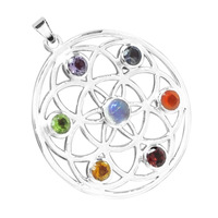 Silver Plated Religion 7 Color Crystals Chakras Pendants 50pcs/lot