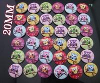W0149 scrapbooking botones 20 mm randomly 150pcs scrapbook wooden buttons printed Owl animal buttons
