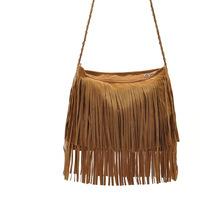 Good quality Star models velvet woven leather fringed shoulder bag diagonal trend tassel bag handbags explosion models