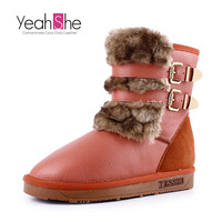 women's boots first layer of cowhide genuine leather snow boots