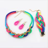 Fashion women's crystal alloy jewelry sets choker necklace earrings fluorescent braided necklace earrings bracelet set