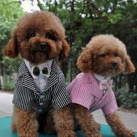 Free shipping New 2014 Pet dog clothing elegant British style spring and summer dog clothes dog groom dress stripe shirt for dog