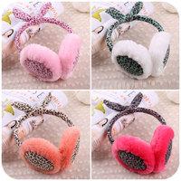 hot warm earmuffs Cute cartoon rabbit cover bow ears point Free shipping Cartoon woman earmuffs