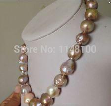 Elegant huge 13-14MM south sea gold pink Keshi pearl necklace 18inch(China (Mainland))