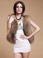 Lady Natural Rabbit Fur Vest Raccoon Fur Collar  Winter Waistcoat Women Fur Outerwear Coats Lady Gilet QD80193