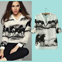 New 2015 Fashion Vintage Women's Shirt Horse Print Chiffon Blouse V Collar White Tops Women Long Sleeve Casual Shirt  nz205