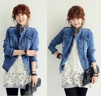 2014 NEW fashion Korean female Long-sleeved wild Denim jacket winter Outerwear Coats Women Collar zipper denim jacket