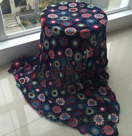 Handmade crochet tablecloth yarn blanket 1.5g tapisserie sierran blanket sofa blanket multi-purpose blanket vintage(China (Mainland))