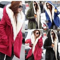 2014 Winter Warm Women Coat Korean Stylish Thick Casual Fleece Hooded Parka Outwear Coat Jacket