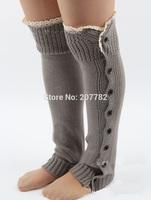 Lace Trim Flat Cuffs Button Down Knit Warmers Knee High Boot Socks Winter Boot Warm Socks Knit Leg Warmer for Christmas