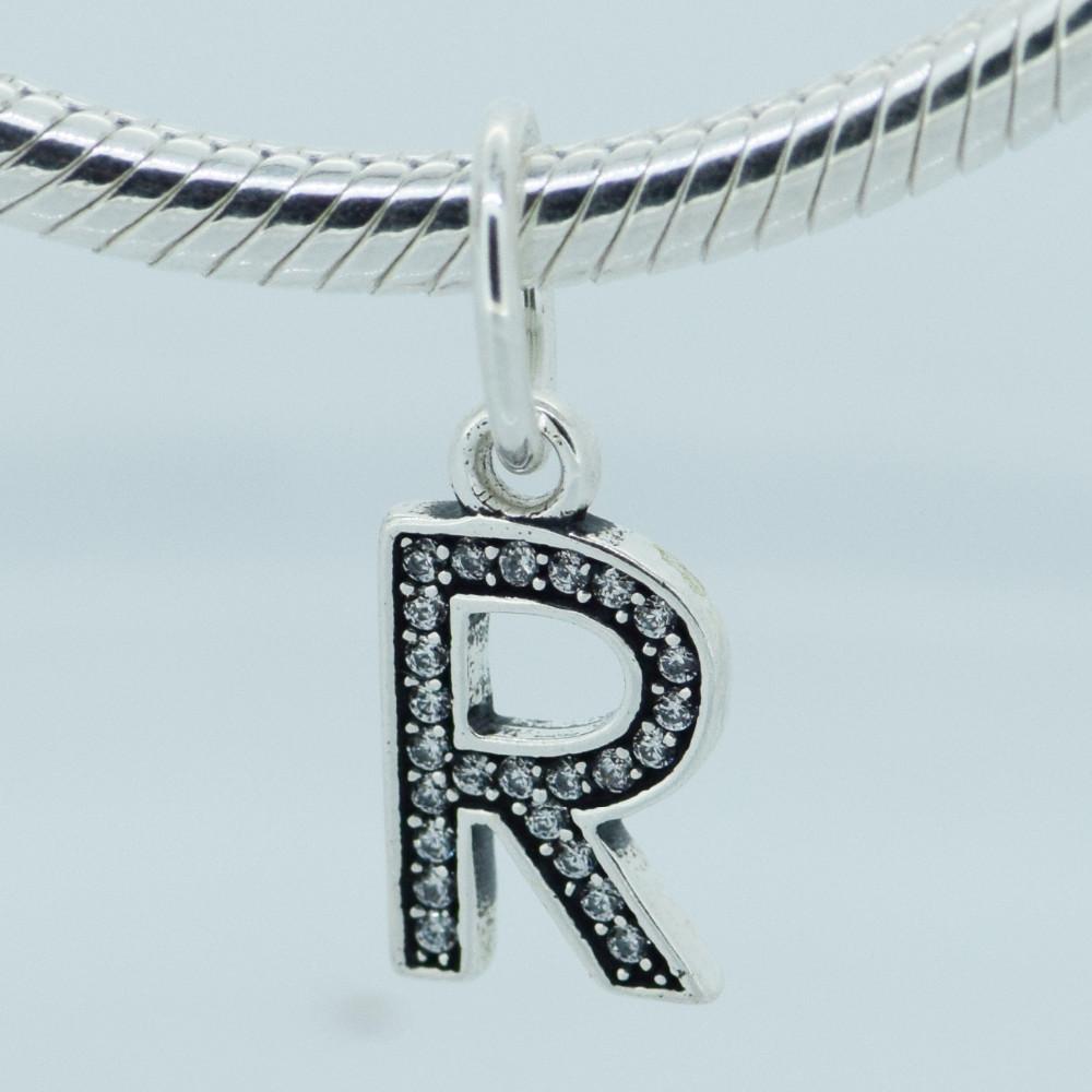 Fits Pandora Bracelet DIY Making Authentic 100 925 Sterling Silver Letter R Pendant with CZ Stone