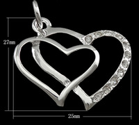 Free shipping!!! Jewelry Pendant,ethnic, Brass, Heart, real silver plated, with cubic zirconia, nickel, lead & cadmium free