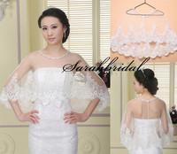 2015 Fashionable Ivory Lace Wedding Wraps Shawls Girls Occasion Bolero Stole In Stock Bridal Jackets Cape 17-016