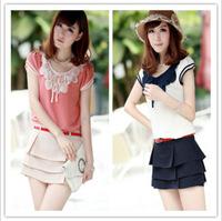 2013 new summer Korean ladies flounced chiffon shirt collar  T-shirt 120903