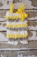 Petti Lace Romper - Lace baby Romper - Petti Ruffle Romper - toddler girls Gray and yellow romper