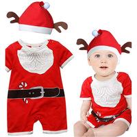 2014 New children set baby girls boys romper snowman christmas styling short sleeve romper + hat suit