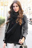 Black/White Fashion Long-sleeved Knitting Cardigan Sweater Short Coat High Quality Shawl Neckline B7130Z Fshow