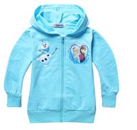 JP045 free shipping hot selling children clothing coat frozen Elsa princess girls hoodies cartoon girls jacket  tops wholesale