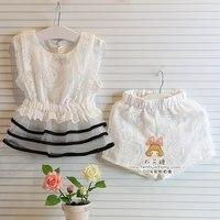 girls shorts and top set summer korean baby clothes Princess lace tops t shirts + lace shorts clothes wholesale