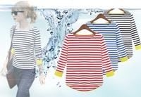 2014 New Spring Style T Shirt Striped Slim Women O Neck Basic Shirt 3 quarter Sleeve T-shirt Fashion Women clothing Cotton Tops