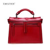 Smilyan Brand New Women Messenger Bags Fashion Shoulder Bag Vintage Crossbody Bag Genuine Leather Bags Women Handbag Tote Bolsas