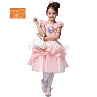 Frozen Princess Coronation Date Anna Ball Dressing Princess TUTU pink Dress For 3-8 Year Kid Girl,5pcs/lot