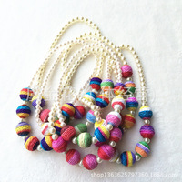 Wholesale supply children's princess pearl necklace chain colorful candy color sweater necklace  14002
