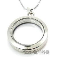 30mm silver round  floating locket magnetic glass floating charm locket Zinc Alloy  (chains included for free)FL004