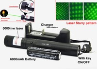 Laser 303 High power 532nm Pointer Burning Match Laser 303 Pointer Pen with Safe Key Green Red laser +6000mah battery+charger