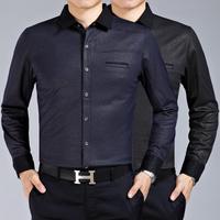 M9022 New Spring Autumn Long Sleeve Shirt Men's Long Sleeve Shirt Big Yards Wave Pattern High-End Men Business shirt