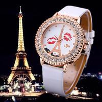 Stylish KISS Eiffel Tower Ladies Watch 2015 Fashion Rhinestone Quartz Watches Women New Leather Wristwatch Top Clock Relogio