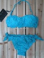 2014 new Hollow embroidery candy colors sexy bandage Bikini women swimwear swimsuit free shipping