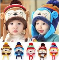 Children's cartoon monkey Baby Hat Baby Cap infant Cap Cotton Infants Warm Hats Skull Caps Toddler Boys Girls Gift Free Shipping