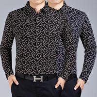 M9025 New Spring Autumn Long Sleeve Shirt Men's Long Sleeve Shirt Big Yards Geometric High-End Men Business shirt