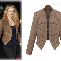 Plus Size S-5XL New Women's Slim Short Small Suit,Leather cashmere Jacket Coat For Women Spring Autumn,2 Colors,OP30,Free Ship