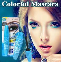 New Colorful Mascara Big Silicone Brush Perfect Curling Thick mascara makeup Length Waterproof formula blue/purple/black 12G