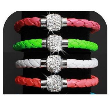 p1 Hot Sale Fashion Pu Leather Wrap Wristband Cuff Punk Magnetic Rhinestone Buckle Bracelet Bangle Jewelry Drop Shipping(China (Mainland))